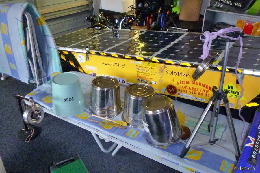 Solatrike in Garage with makeshift drum