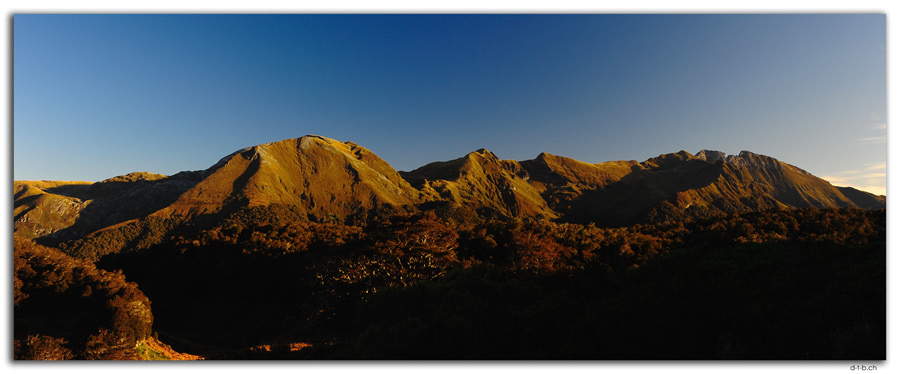 NZ0523.Kahurangi N.P.Mt.Arthur in the evening