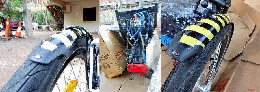 AU: Solatrike auspacken, Schutzbleche verbogen und Rückstrahler zerschmettert