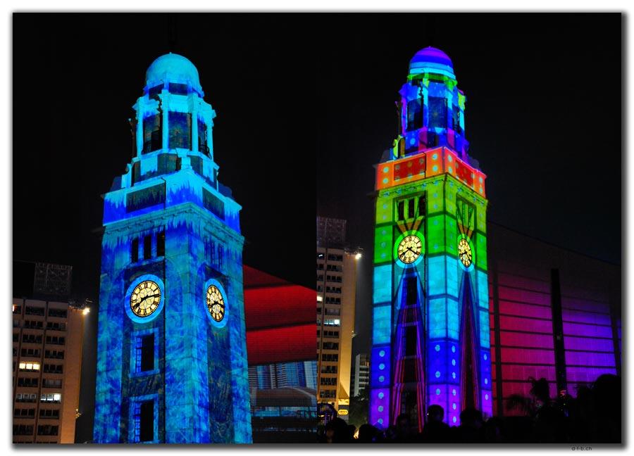 Uhrturm in Kowloon mit spezieller Beleuchtung