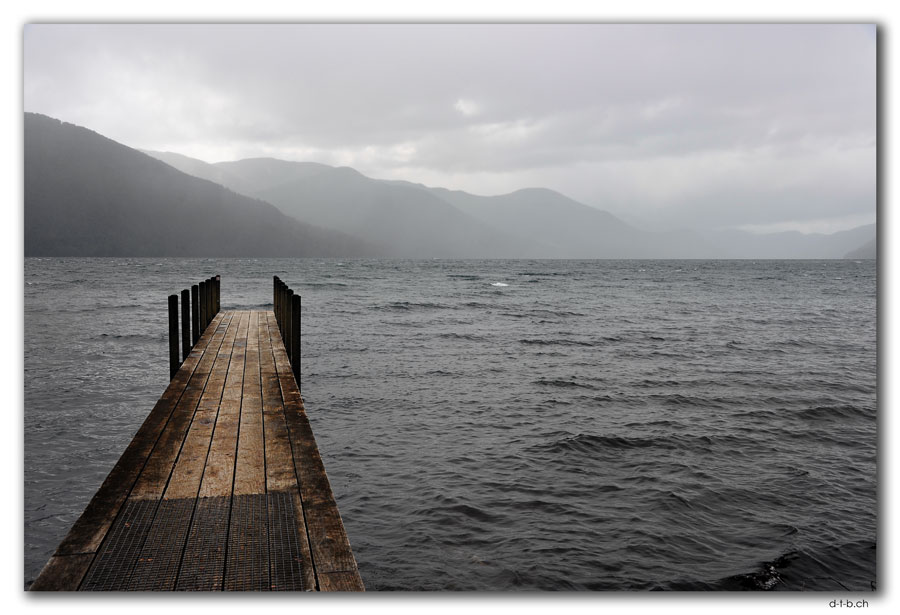Lake Rotoroa. Jetty at Sabine Hut