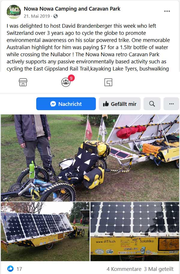 Facebook post of Nowa Nowa Camping and Carvan Park