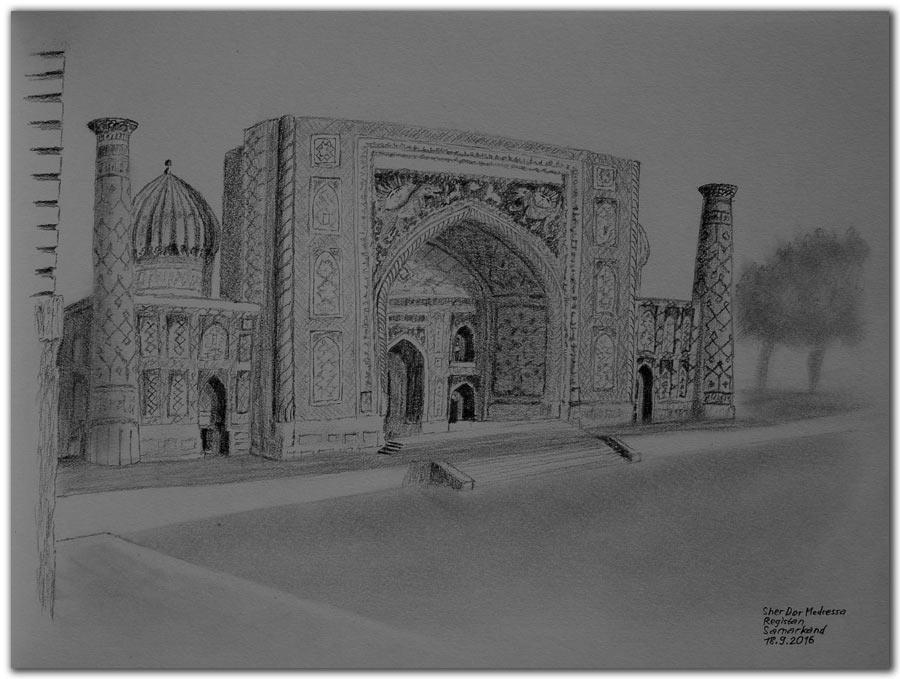 Skizze.Samarkand.Sher Dor Medressa,Registan.Uzbekistan