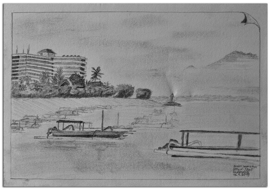Skizze.Pantai Segara Ayu.Sanur.Bali