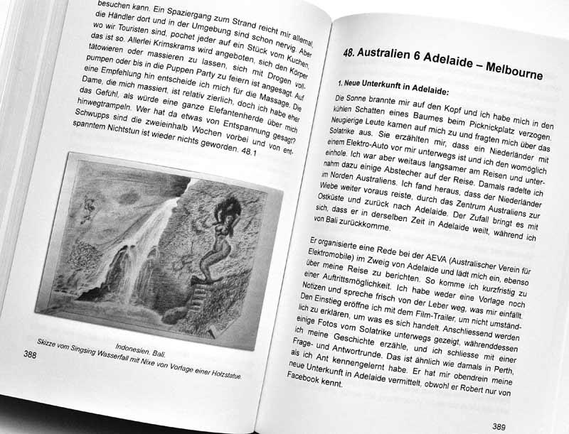 Solatrike Das Buch - Probeseite Text und Skizze