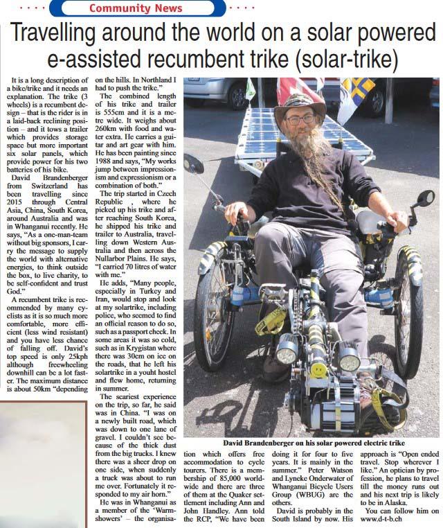 Zeitungsartikel mit Foto von David Brandenberger mit Solatrike