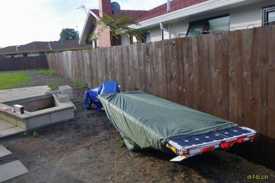 Solatrike parked in Garden