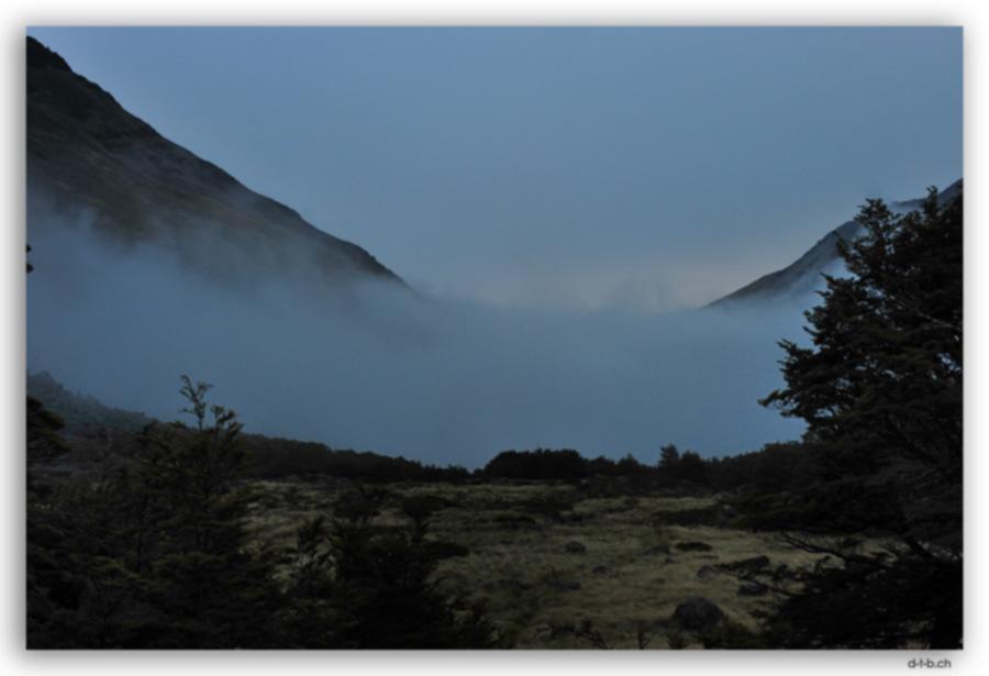 Sicht aus Upper Travers Hut 6 Uhr morgens
