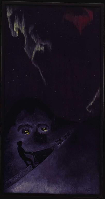 """""""Dogsledging in the night"""" (Hundeschlittenfahren in der Nacht)"""