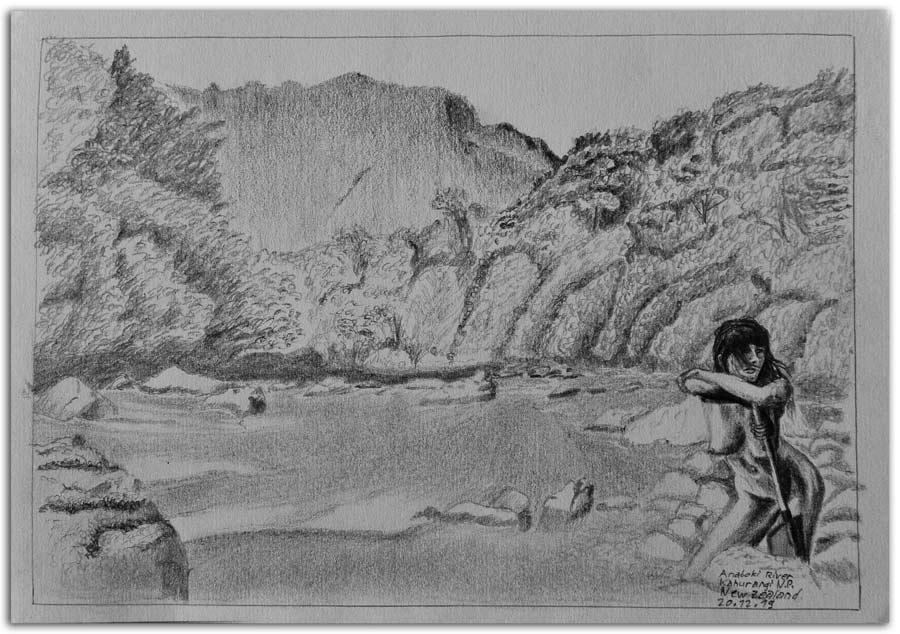 Skizze am Anatoki Fluss