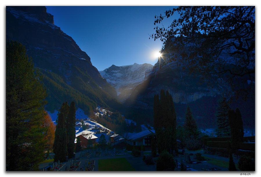 Sonne neben Eiger, Grindelwald