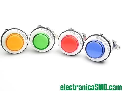 pulsador con rosca para chasis panel, pulsador tipo arcada, pulsador para maquinita, switch para arcade, pulsador para arcade