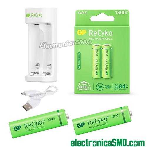 bateria AA AAA recargable GP, bateria recargable, bateria AA recargable GP, gp recyko, cargador para bateria, guatemala, electronica, bateria AA 1300mah