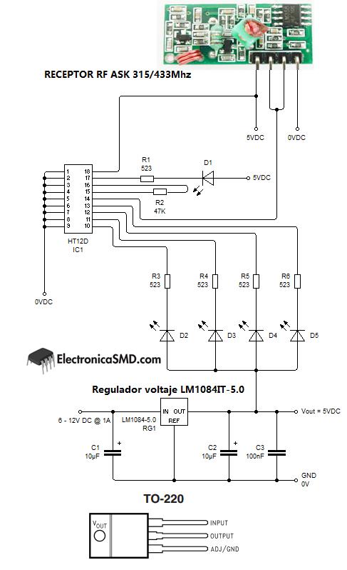 circuito, diagrama, proyecto, radiofrecuencia RF guatemala, 433mhz, 315mhz, comunicacion inalambrica, guatemala, electronica, electronico 433mhz guatemala, pic, microcontrolador, HT12E, HT12D