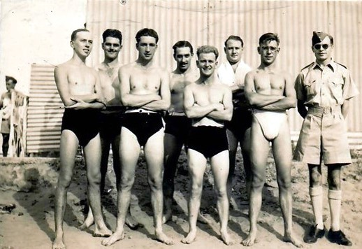 LAC Tommy Hopps (centre) - Captain of RAF Swimming team - seen in 1943 at Khartoum