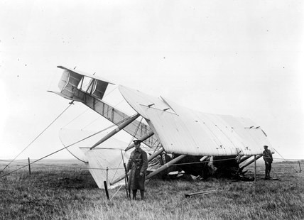 How it all started - Alcock and Browns' Vickers Vimy after its arrival on a boggy field in Clifden Ireland on 15.June 1919