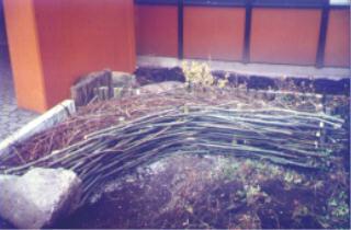 Weidenschnittmaterial wird auf Spielplätzen bei Kindergärten und Schulen verwendet, wie bei diesem Weidensofa