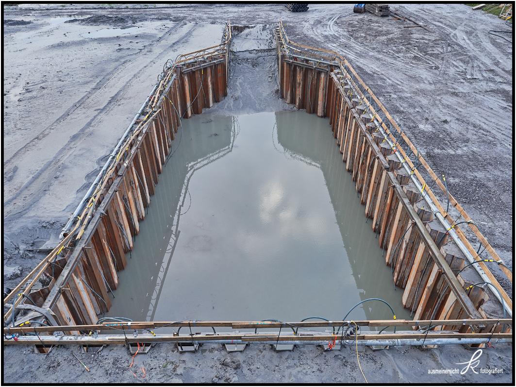 11.10.2020 Baugrube in Spundwandverbau für Brückenpfeiler