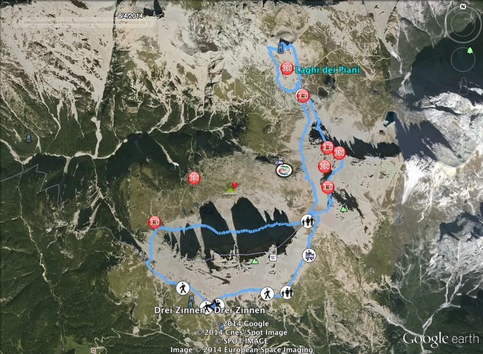 Auronzo-Hütte, Leiternsteig, de Luca-Innerkofler-Steig, 18 Km