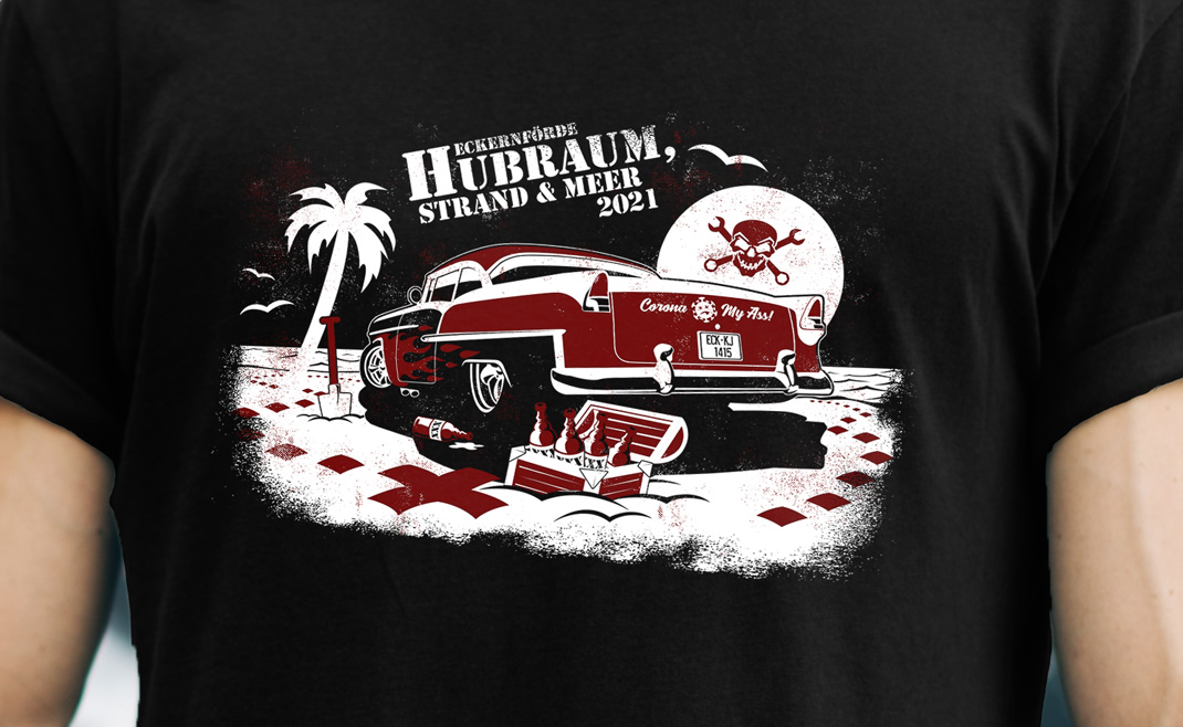 Event-Shirt Design: Hubraum, Strand und Meer 2021