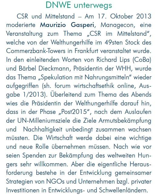 Forum Wirtschaftethik (DNWE), Ausgabe 3/2013