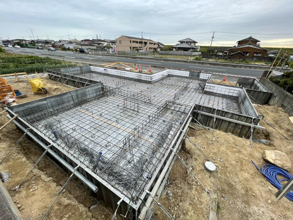 基礎工事/国道沿いの平屋/倉敷