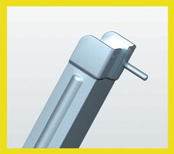 UNIÓN GUIA INFERIOR Punto de unión de las dos mitades plegables de la guía inferior, con troquel integrado para evitar la aparación de óxidos