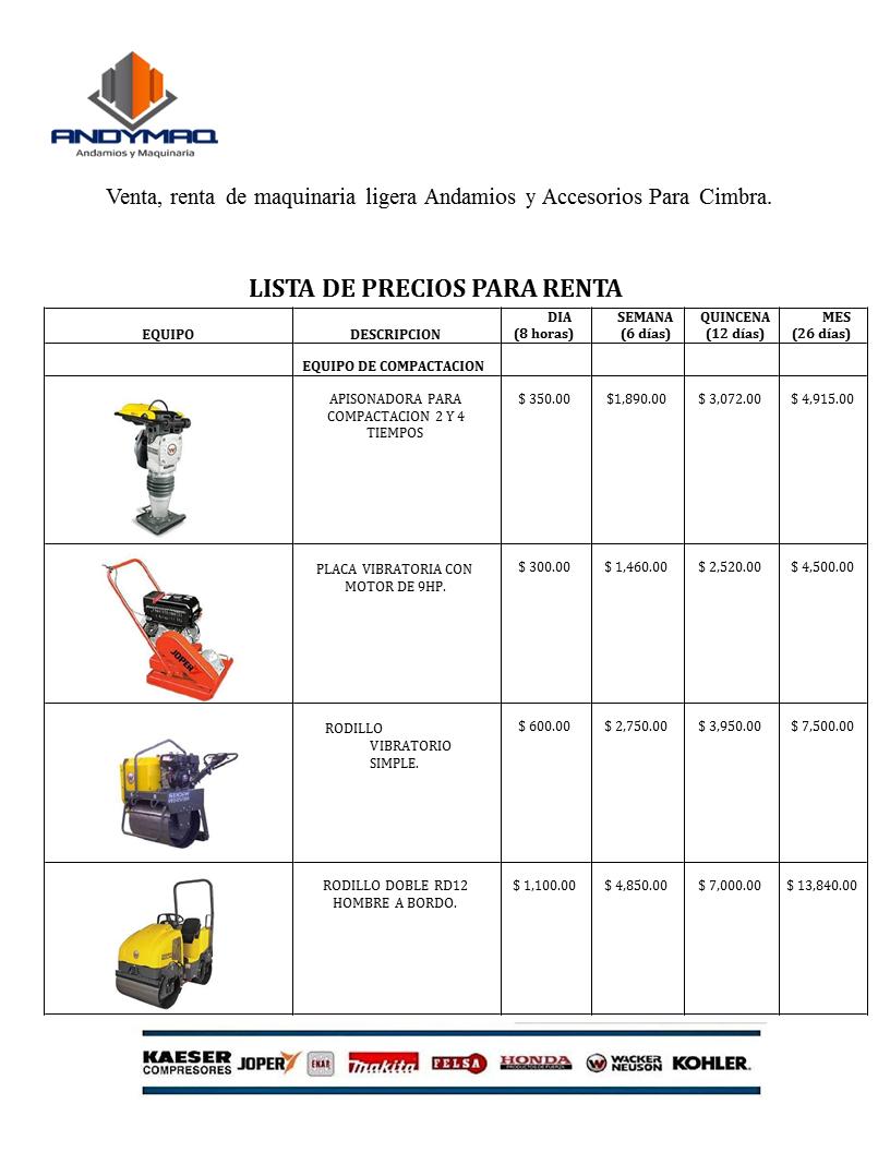 Precios de renta equipo para compactacion ANDYMAQ
