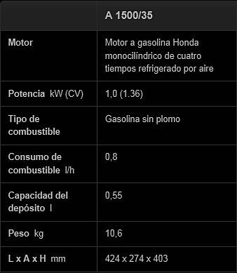 Datos Vibrador a gasolina wacker Neuson a1500