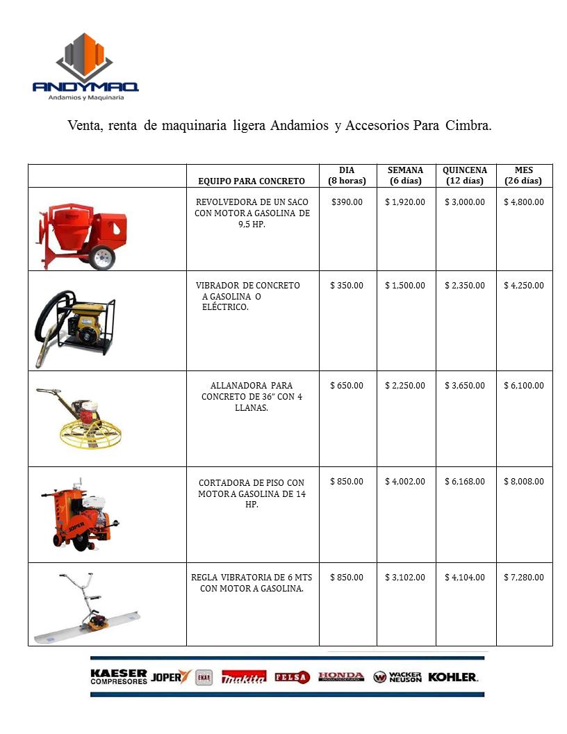 Precios de renta equipo para concreto ANDYMAQ