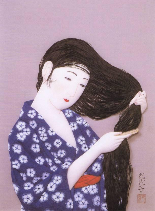 巽紀代子作 髪梳ける女(橋口五葉)