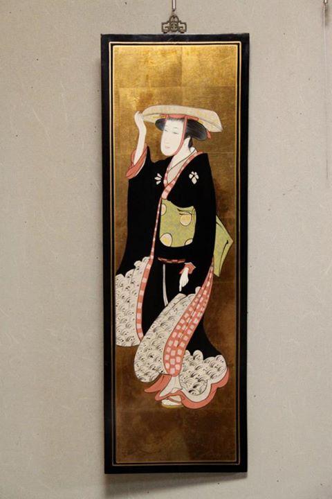 「飛鳥山の花見 母:模写美人画看板」(鳥居清長)