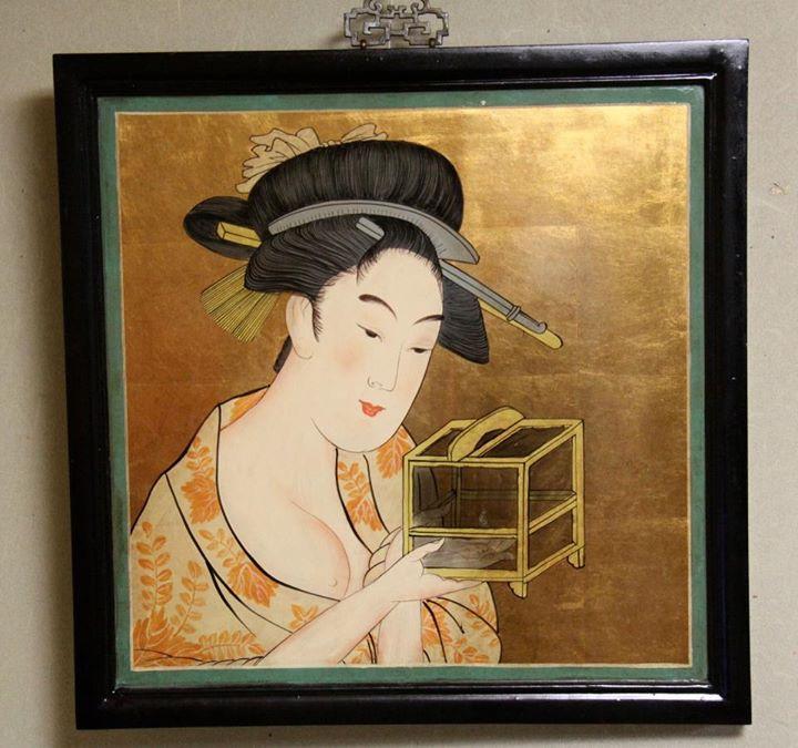 「虫籠 」模写美人画看板 (喜多川歌麿)