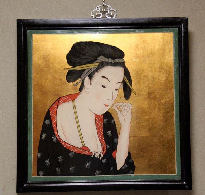 「北国五色墨・川岸」 模写美人画看板 (喜多川歌麿)