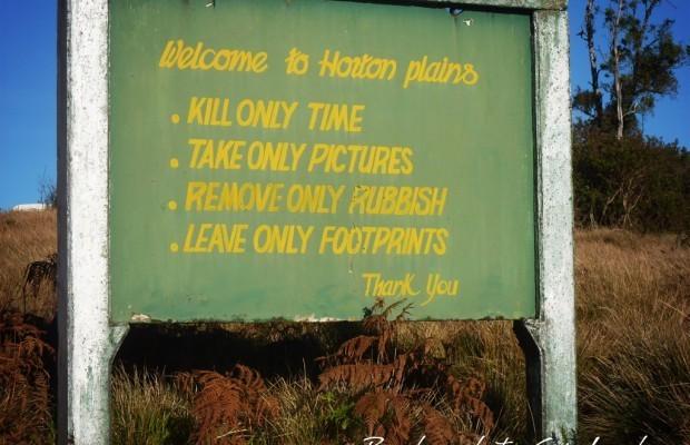 Wegweiser im Horton Plains Nationalpark
