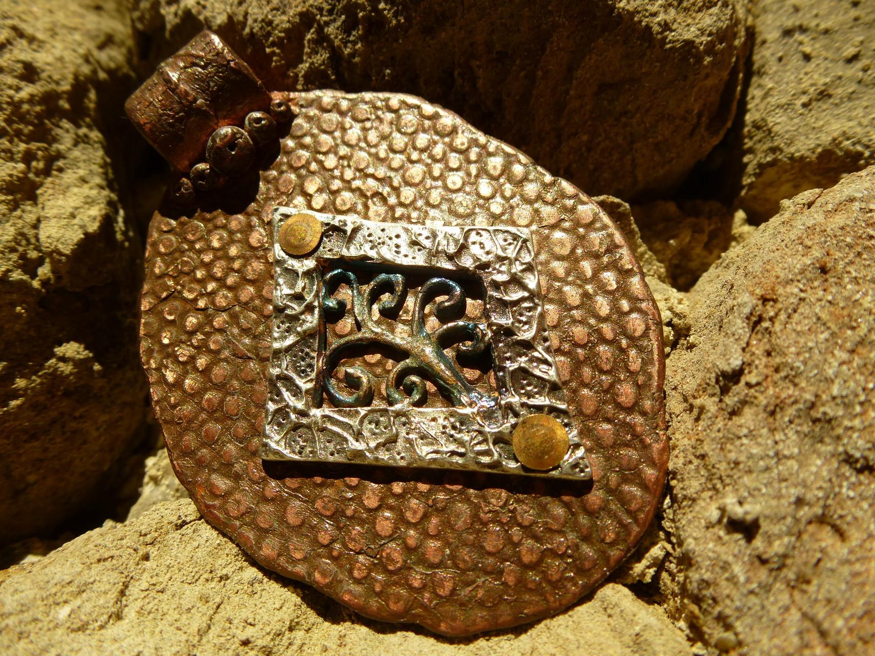 Lebensbaum Vorderseite - Kupfer mit Feinsilberfiligree