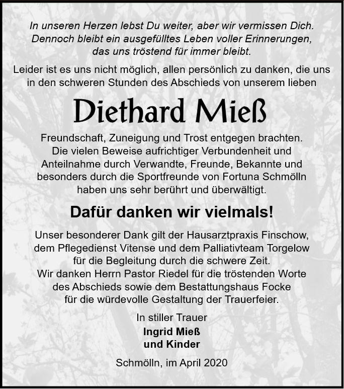Danksagung-Diethard Mieß-Bestattungshaus-Focke-Torgelow-Prenzlau
