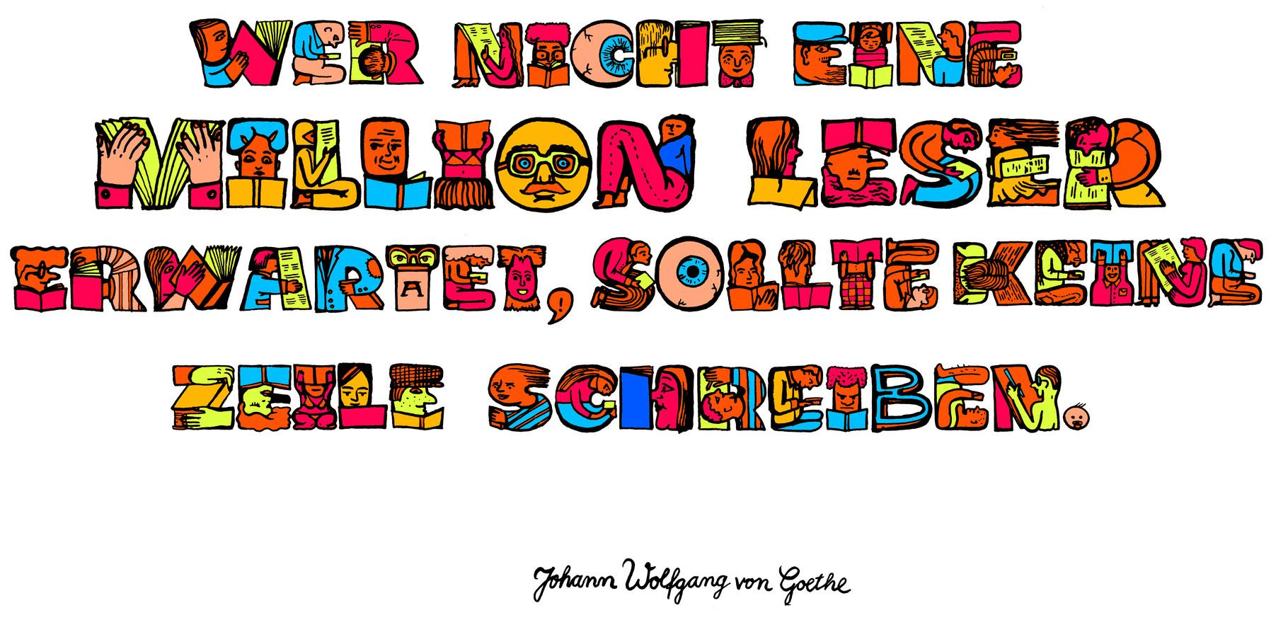Dieses Handlettering zeigt Zitat von J.W. von Goethe und entstand als Stellenausschreibung für den Burda Verlag.