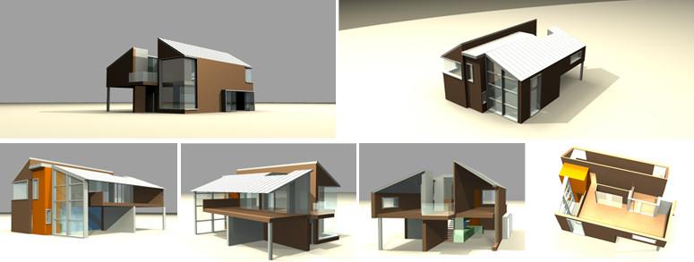 Deseño casa prefabricada. traballo realizado con Bernardo Carballal