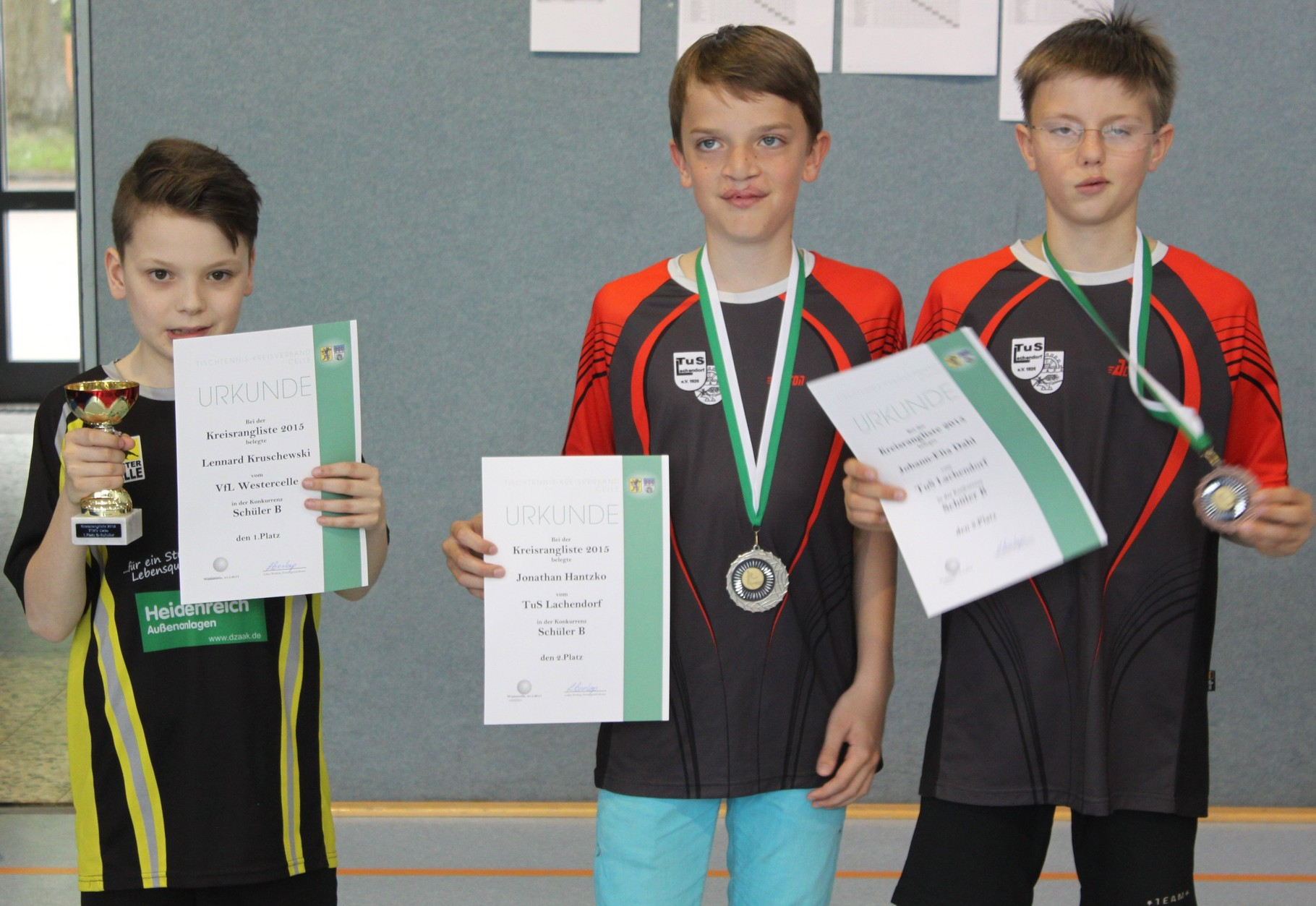 Sieger B-Schüler: v.l. Lennard Kruschewski,Jonathan Hantzko, Johann-Elia Dahl