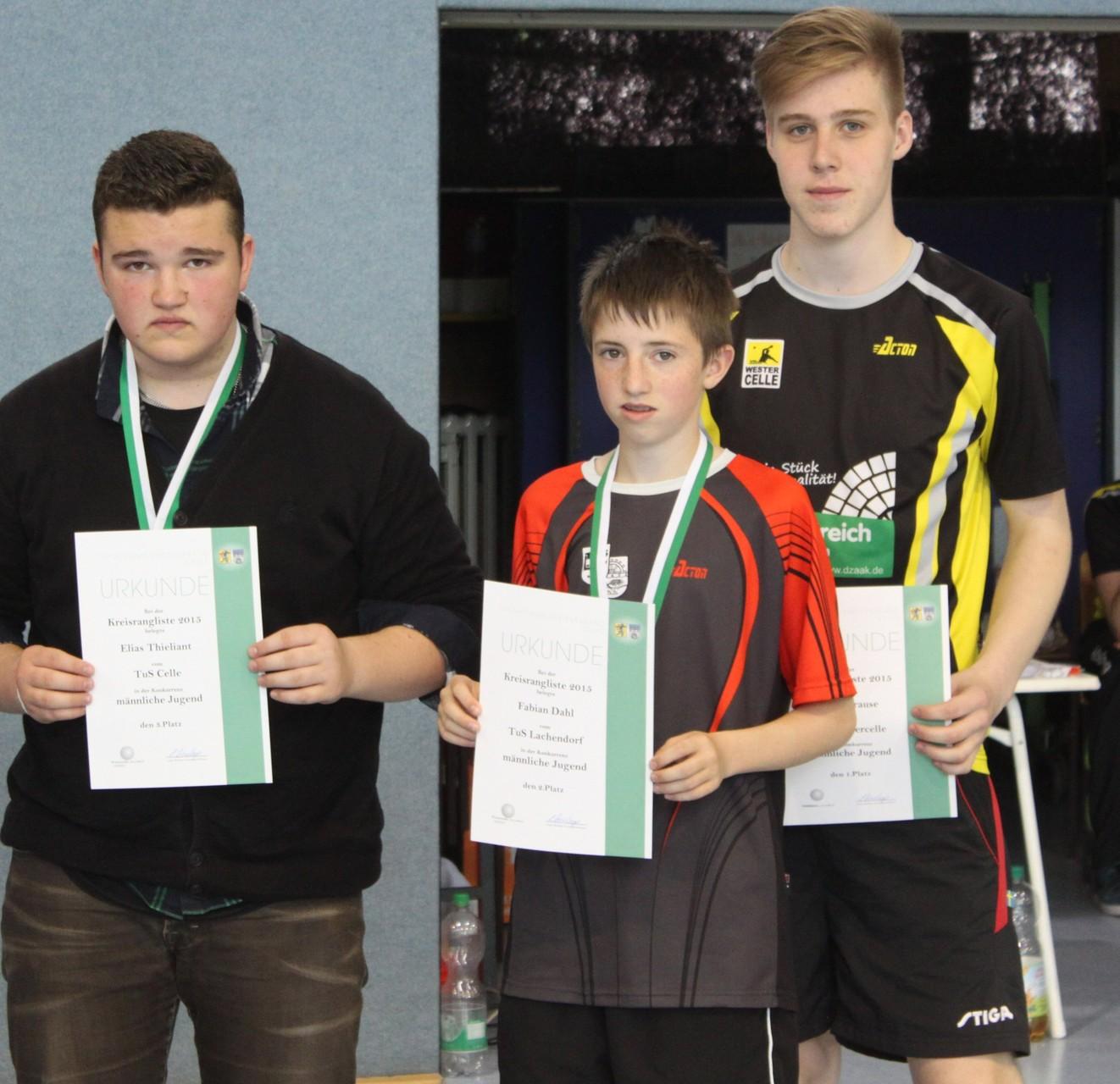 Sieger Jungen: v.l. Elias Thieliant, Fabian Dahl, Lukas Krause