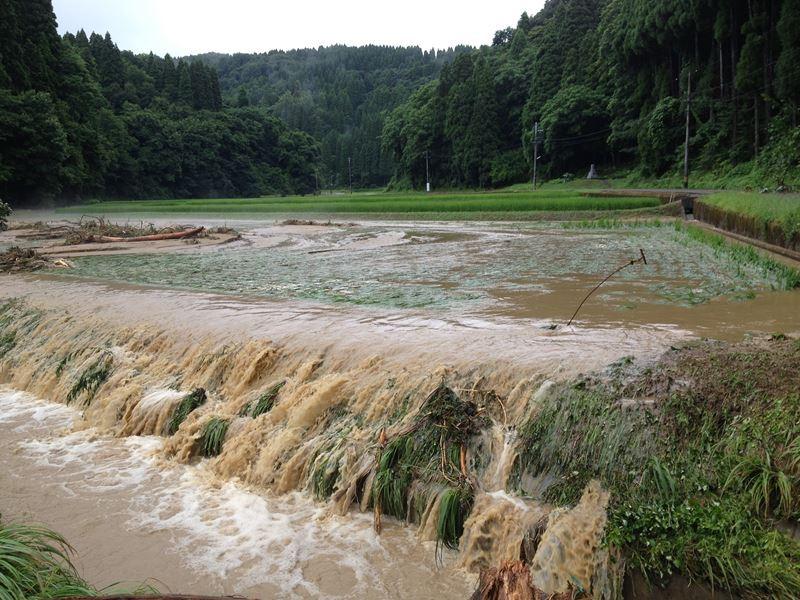 7月21日大雨災害で流された田んぼ