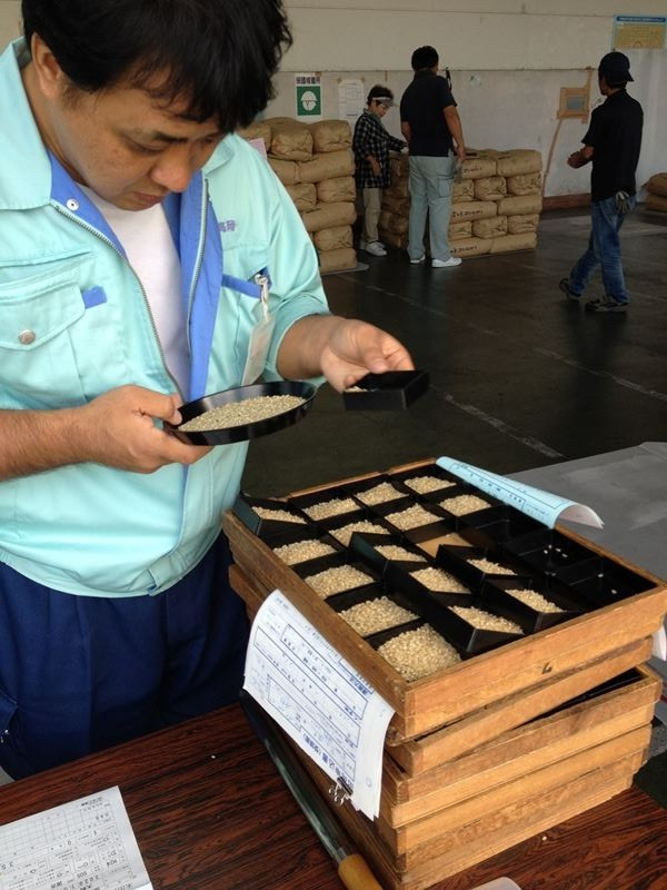 JA高岡 国吉低温倉庫で米の検査