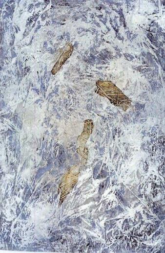 Landschaft, farbige Kalkreibung, 1991, Libbenichen,  Knochenleim, Stroh, Kalk, Pigment auf Konsumeinwickelpapier