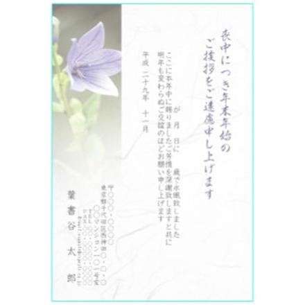 喪中見舞いテンプレート ふち無しはがき 桔梗の花