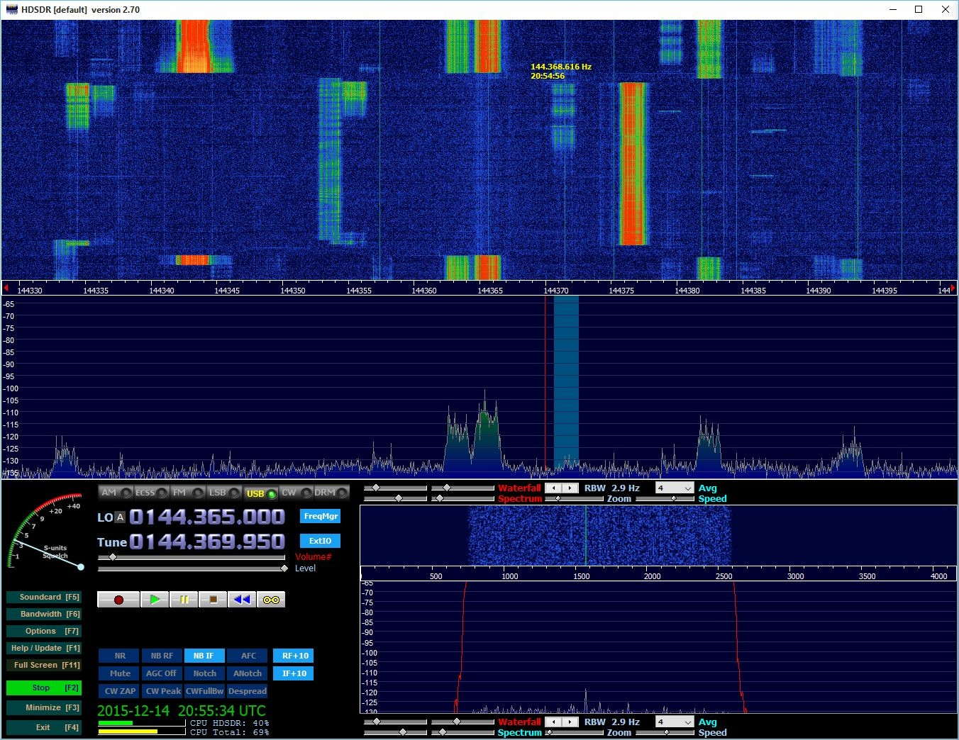 Lots of Bursts from EU6AF calling CQ on 144.370