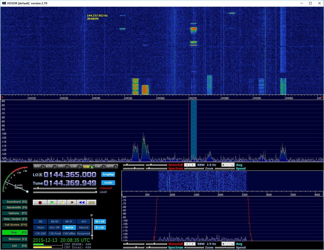 Lots of bursts from YL3AO calling CQ on 144.370