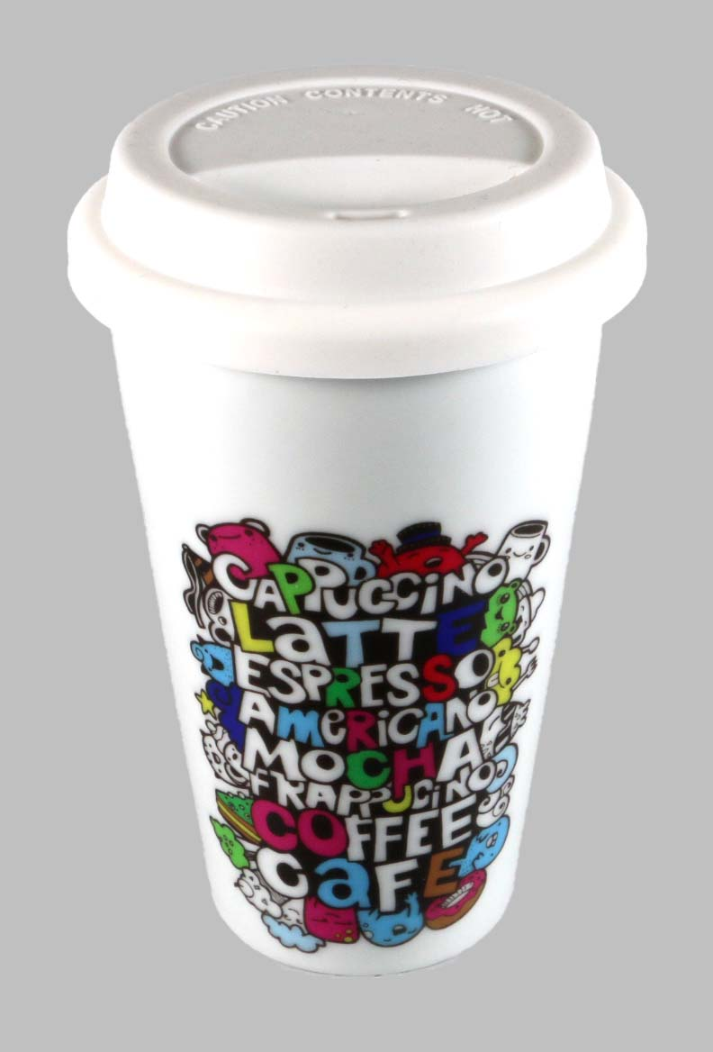Porzellanbecher Coffee-to-go, doppelwandig