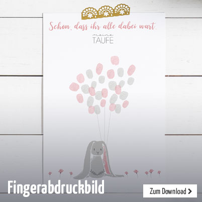 Fingerabdruckbild zum Gratis-Download, schön als Dankeskarte zur Taufe