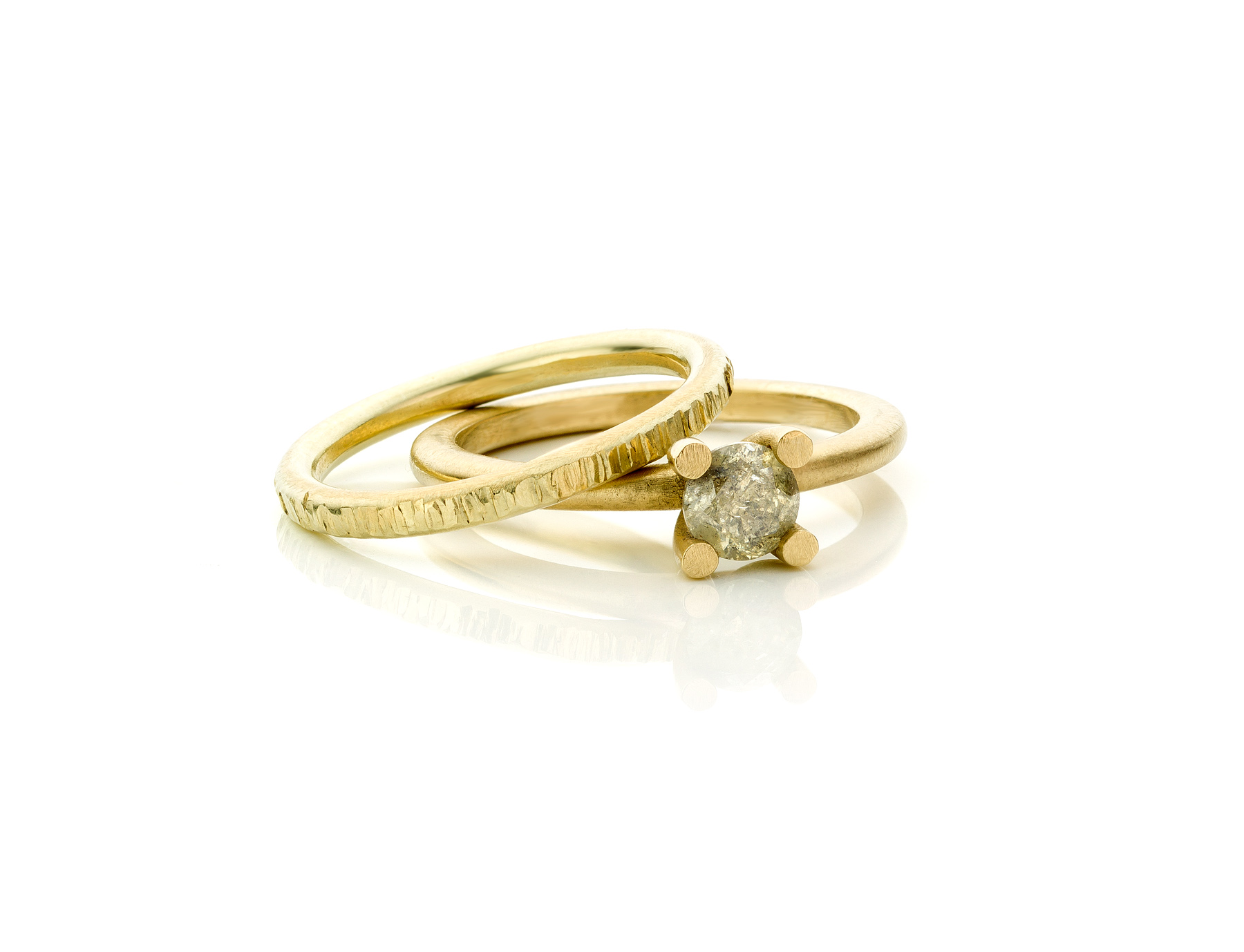 Salt & pepper diamanten ring & structuur zijring